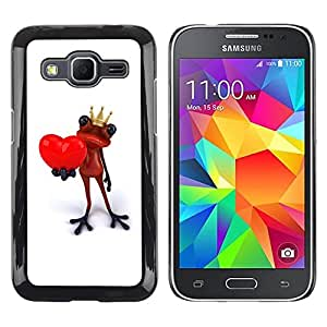 Be Good Phone Accessory // Dura Cáscara cubierta Protectora Caso Carcasa Funda de Protección para Samsung Galaxy Core Prime SM-G360 // King Crown White Frog Love Minimalist
