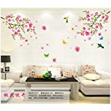 Let it be Free Wall Stickers/Kids wall decals/wall transfers/wall tattoos/wall sticker,WallPicture Art-Pink Plum Blossom Flower & Bird Decal Mural Art Wall Sticker For Home Room Decoration