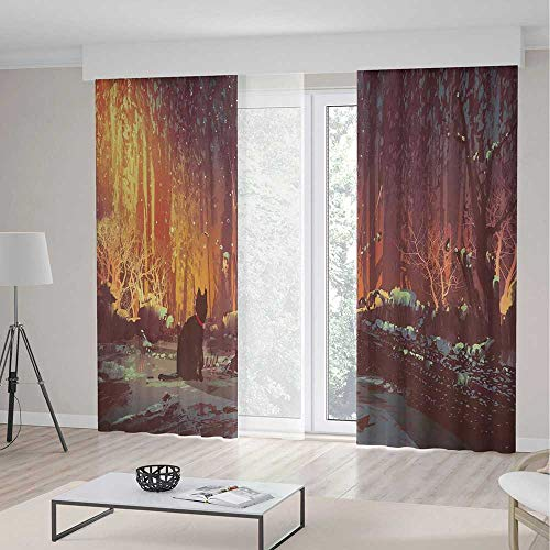 Blackout Curtains,Fantasy Art Decor,Decor Curtains,Surreal Lost Black Cat Deep Dark in Forest with Mystic Lights Picture,2 Panel Set,157