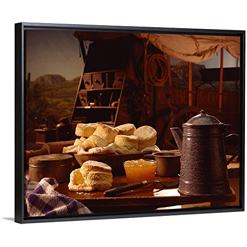 Chuck Wagon Coffee - Biscuits and Coffee on Chuck Wagon Black Floating Frame Canvas Art, 32