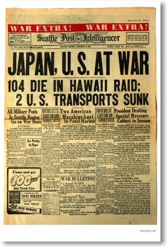Japan U.S. At War Pearl Harbor Headline - NEW Vintage Newspaper Poster