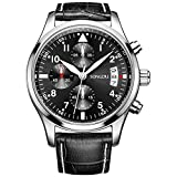 SONGDU Men's Date Chronograph Watches Luminous Black Numerals Analog Leather Strap