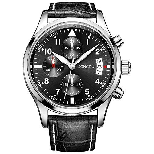 SONGDU Men's Date Chronograph Watches Luminous Black Numerals Analog Leather Strap