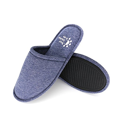 Men's 4 Seasons Cotton Washable Slippers with Matching Travel Bag for Home Hotel Spa Bedroom, L, Navy
