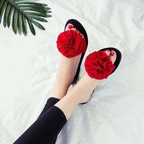 Baomabao Zomer Dames Strand Schoenen Slip Slippers Bloem Platte Sandalen Slip Rood