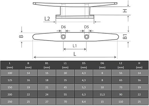 OPIOL QUALITY Bootsklampe Belegklampe flach 100 mm | Klampe 1 St/ück Poliert Festmacherklampe mit 4 Bohrungen