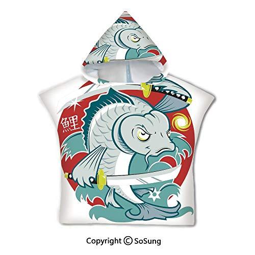 Japanese Toddler Hooded Beach Bath Towel,Koi Samurai Two Swords on Red Background Martial Art Animal Fighter Illustration,1-7 Years Old Microfiber Bath Robe,Green White,for Beach Pool Shower