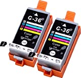 2 Pack Compatible Canon CLI-36 2 Tri Color for use with Canon PIXMA iP100l, PIXMA mini260, PIXMA mini320, RFB IP100. Ink Cartridges for inkjet printers. CLI-36-C / 1511B002 © Blake Printing Supply, Office Central