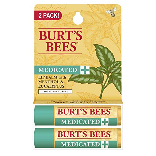 - Burt's Bees 100% Natural Medicated Moisturizing Lip Balm with Menthol & Eucalyptus - 2 Tubes