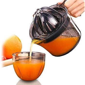 Citrus Juicer, Sunhanny Orange Lemon Manual Hand Squeezer, Anti-Slip Lid Rotation Reamer Lime Press, 17-Ounce Capacity, Transparent Black