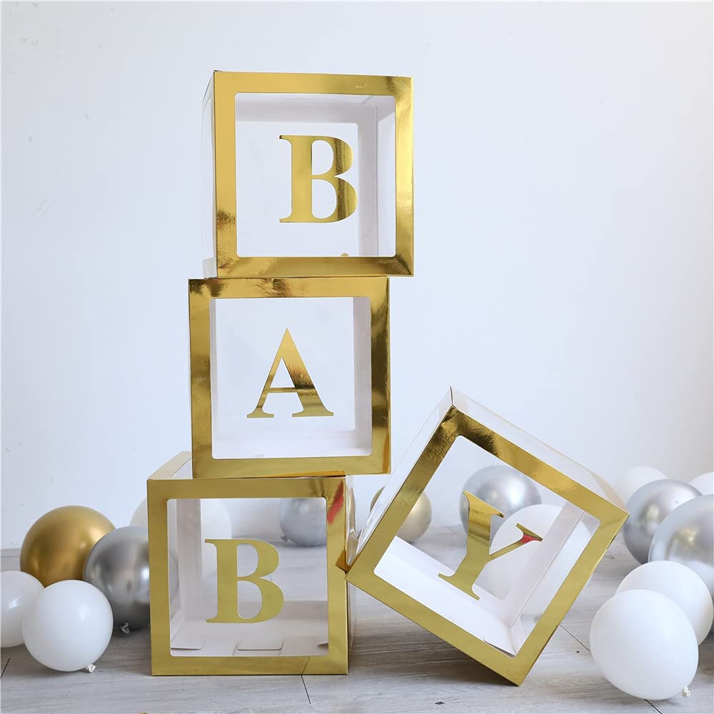 Baby Shower Boxes Decorations for Girl & Boy, 4-Pack Transparent Balloons Boxes Décor with BABY Letters for Gender Reveal Baby Shower Decorations Bridal Showers Birthday Party, Gold Boxes