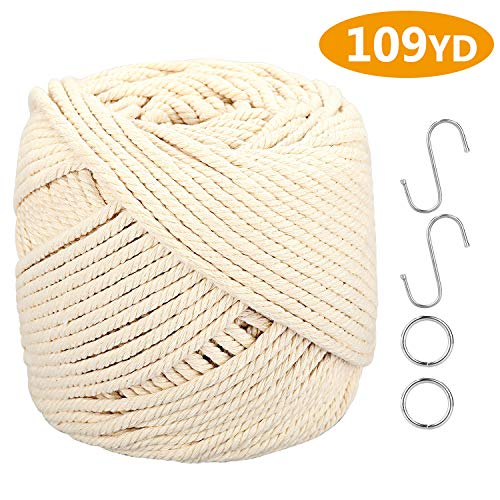 Macrame Cord, ONME 4mm X 100m (109 yds) Natural Virgin Cotton Rope Natural Color Macrame Cord Wall Hanging Cord Plant Hanger Rope Macrame Swing Chair Boho Dream Catcher DIY Craft Cord Knitting Rope
