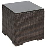 Best Choice Products Wicker Rattan Side Table Outdoor Patio Furniture Garden Deck Pool