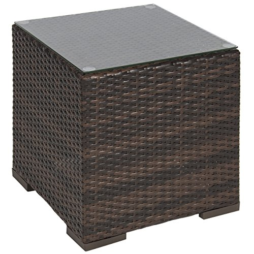 Best Choice Products Wicker Rattan Side Table Outdoor Patio Furniture Garden Deck Pool (Top Outdoor Furniture Brands)