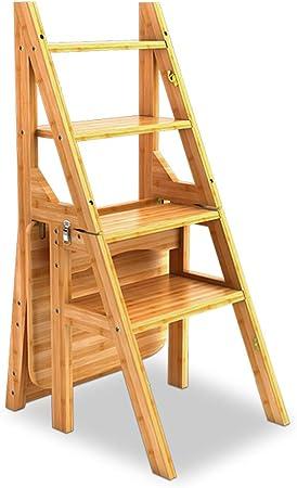 Plegables pasos de escalera Silla plegable de doble uso para escaleras de escalera de bambú de