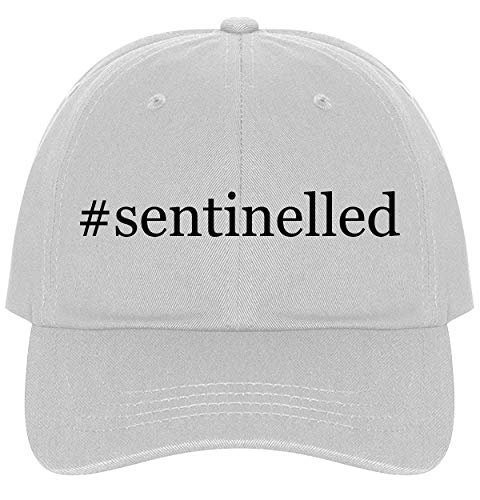 (The Town Butler #Sentinelled - A Nice Comfortable Adjustable Hashtag Dad Hat Cap, White)