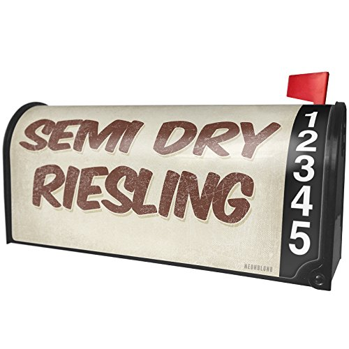 Semi Dry Riesling Wine - NEONBLOND Semi Dry Riesling Wine, Vintage Style Magnetic Mailbox Cover Custom Numbers