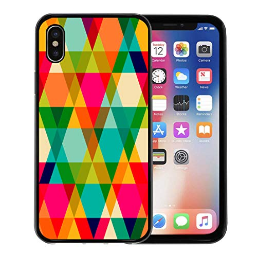 (Semtomn Phone Case for iPhone Xs case,Pattern of Geometric Shapes Triangles Flow Spectrum Effect Copy That to The Side Resulting Can Be Tiled for iPhone X Case,Rubber Border Protective Case,Black)