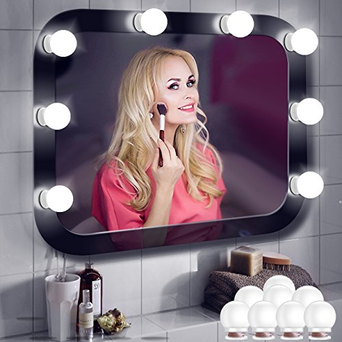 Minger Vanity Mirror Light Bulbs 8 Dimmable LED Bulbs Kit for Hollywood Style Makeup Mirror Lighting Fixture in Bathroom Dressing Room (Mirror Not Included)
