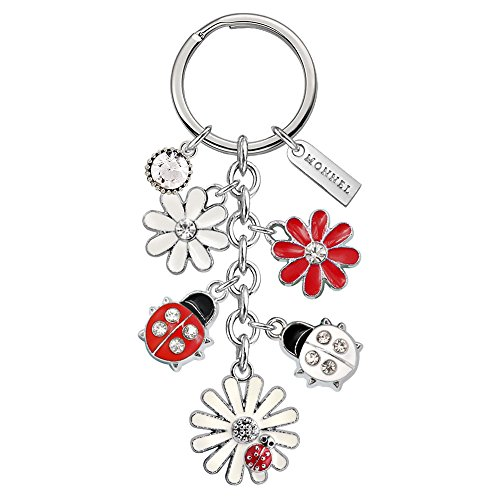 Monnel Brand New White Red Daisy Flowers Ladybugs Keychain with Velvet Bag Z517