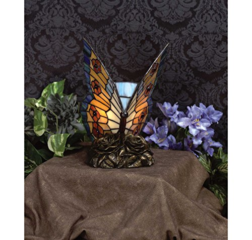 Quoizel Orange Butterfly Tiffany 1 Light Accent (Novelty Lights Accent Lamps)