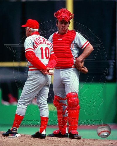 (Johnny Bench & Sparky Anderson Cincinnati Reds MLB Posed Photo 8x10 #2 )