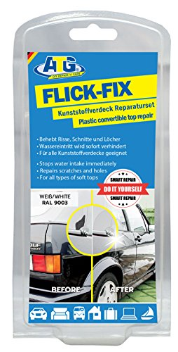 ATG Patch Fix Plastic Cover Pond Foil Pool Repair Kit, White: Repair of Cracks, Cuts and Holes for Convertible, Tarpaulins, Plastic Covers - the adhesive can also be processed under water (e.g. Soft P