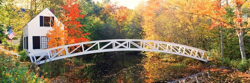 Walls 360 Peel & Stick Wall Murals: Arched White Footbridge ME (84 in x 28 in)
