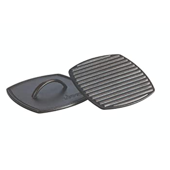 Lodge Cast-Iron Square Ribbed Panini Press