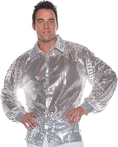 (OvedcRay 1970S 70S Silver Disco Shirt Sequin Costume Dance Saturday Night Fever Pimp)