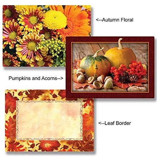 Autumn Themed Paper Placemats - 14in. x 9.75in. (50, Pumpkins & Acorns) by MPS