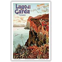 Lago di Garda (Lake Garda) - Tremosine, Italy - Vintage Railroad Travel Poster by Ettore 'Elio' Ximenes c.1920s - Master Art Print - 12in x 18in
