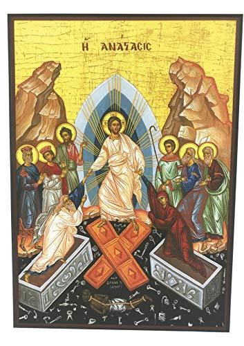 JWG Industries The Resurrection of Jesus Orthodox Wooden Byzantine Icon Replica ()