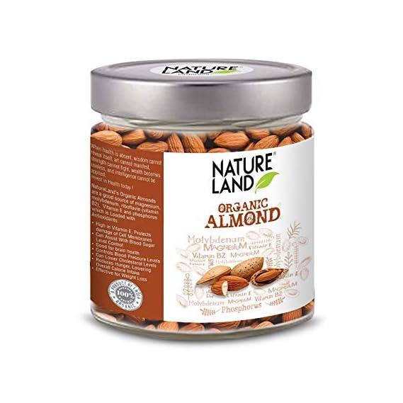 Natureland Organics Almonds 250 Gm, Healthy Organic Dry Fruits