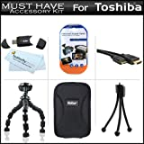 """Must Have Accessory Kit For Toshiba Camileo S30 S20 BW10 HD Pocket Camcorder Includes + Hard Case + 7"""" Flexible Tripod + Mini HDMI Cable + USB 2.0 SD Card Reader + LCD Screen Protectors + More"""