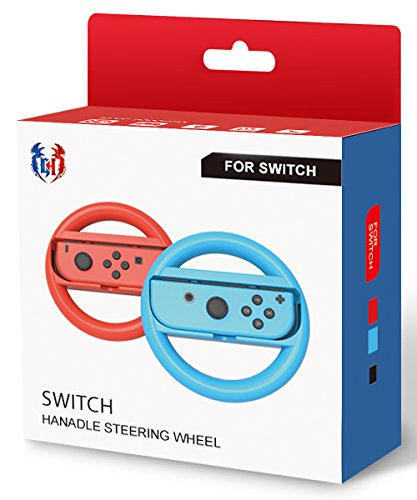GH Small Sizes Switch Steering Wheel for Mario Kart 8 Deluxe, Switch Racing Wheel for Nintendo Joy Con Controller - Neon Blue and Red, for Kids
