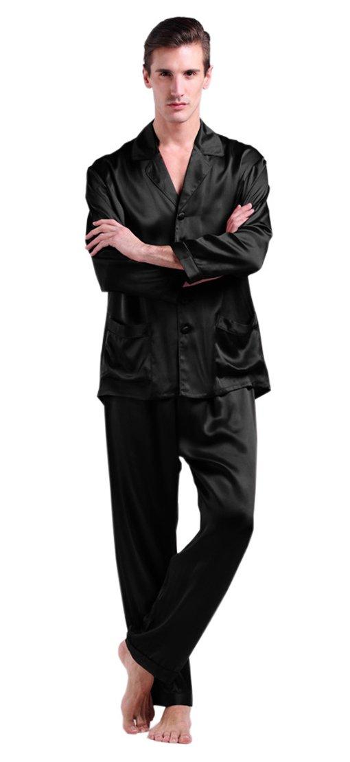 LILYSILK Men's Black Silk Long Pajamas Set Natural Soft 22 Momme Pure Mulberry Silk Sleepwear XL