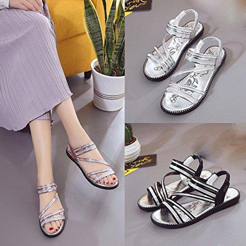 Transer Frauen Sandalen, Flache Casual Comfortabl Beach Schuhe Flip Flops Gladiator Silber
