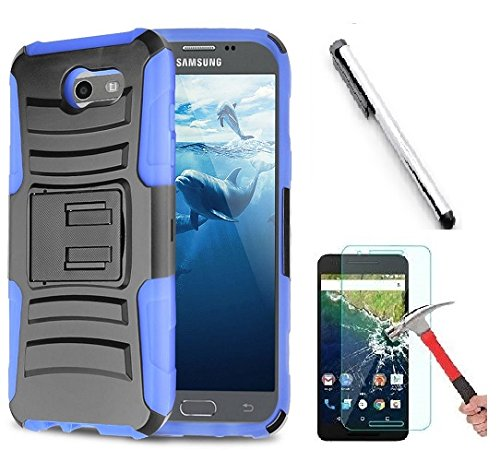 Clip Blue Faceplate Belt (Samsung J3 Emerge, Galaxy J3 Prime (MetroPCS), Amp Prime 2 case, Luckiefind Dual Layer Hybrid Side Kickstand Cover Case With Holster Clip, Stylus Pen & Screen Protector Accessory (Holster Blue))