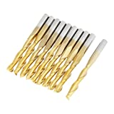 10pcs 3.175mm(1/8in) Carbide End Mill Engraving Bits Titanium Coated Double Flute Bit Shank Cutting Tool For CNC Rotary Burrs