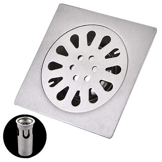 Suelo desagüe de acero inoxidable 10 x 10 cm, desagüe ducha de ...