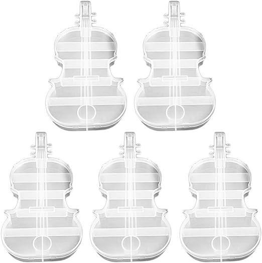 Cabilock 5 Piezas Cajas de Cuentas de Costura de Plástico Caja de Costura Transparente Organizador de Punto de Cruz Caja de Almacenamiento en Forma de Violín para Cuentas Hilos Agujas: Amazon.es: Hogar