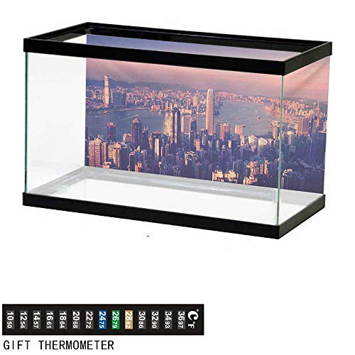 wwwhsl Aquarium Background,City,Dreamy View of Chinese City Hong Kong Urban Scene Concept Victoria Harbor,Pale Pink Night Blue Fish Tank Backdrop 36