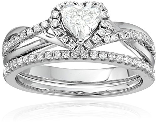 14k Dia Center Heart Bridal Engagement Ring Set (3/4cttw, H-I Color, SI2-I1 Clarity)
