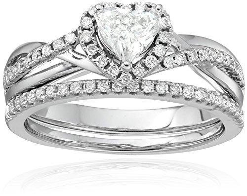 14k Dia Center Heart Bridal Engagement Ring Set (3/4cttw, H-I Color, SI2-I1 Clarity)