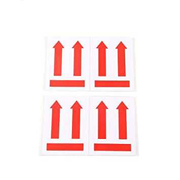 50pcs 4 X 3 This Side End Up Stickers Red Arrow Symbol Adhesive