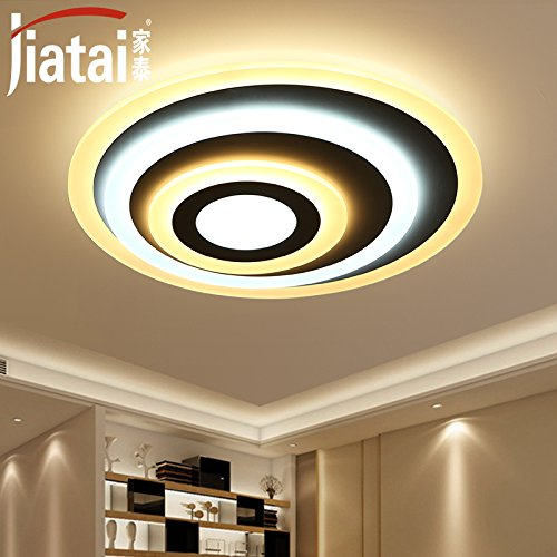 Cttsb Ceiling lamp bedroom lighting warm and romantic simple modern round led room atmosphere creative living room lighting, diameter 60cm stepless adjustable with remote control
