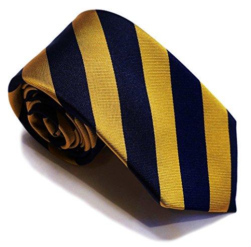 7 Fold Silk Necktie - Yellow & Blue Stripe tie - Franklin Big Knot Seven Folds ()