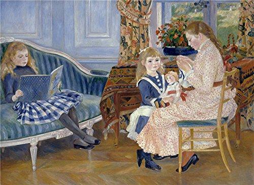 ポリエステルキャンバス、鮮やかなアートの装飾プリントキャンバスの油絵` Auguste Renoir L `apres Midi Des Enfants A Wargemont `、12x 16インチ/ 30x 42cmは地下室のデコレーションBest、ホームデコレーションとギフトの商品画像