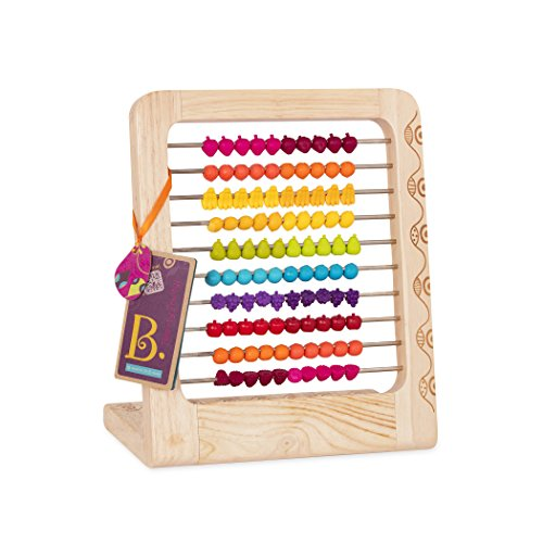Abacus Counting Toy - B. toys - Two-ty Fruity! Wooden Abacus Toy - Classic Wooden Math Game Toy for Early Childhood Education and Development with 100 Fruit Beads
